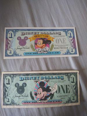 "Disney Currensy ""Rare "" 1993 &1987 dollar bills. for Sale in Anaheim, CA"