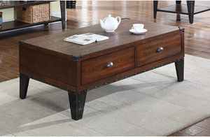 Best Master Furniture Carly Walnut With Black Iron Nail Heads Coffee Table for Sale in Las Vegas, NV