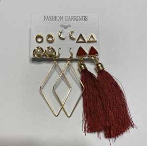 Earring Pack Jewelry Maroon Tassel Moon Gold Diamond Pearl Triangle for Sale in Mentor, OH