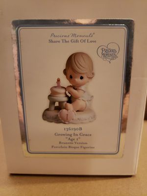 Precious Moment Figurine, 'Growing In Grace Age 1', Brunette, with Box 136190B for Sale in Tracy, CA