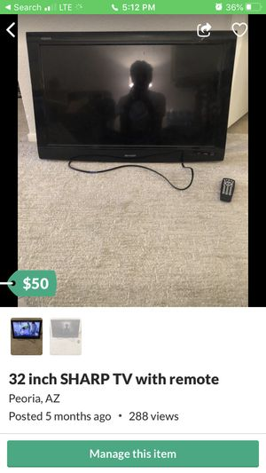 32 inch sharp tv with remote needs stand or wall mount $50 for Sale in Peoria, AZ