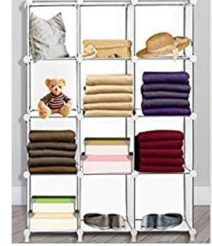 12-cube storage shelf, square, organizer, plastic(No doors) bookcase, suitable for bedroom, office, living room, white color for Sale in Ontario, CA