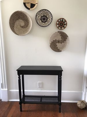 Black caned console table for Sale in Savannah, GA