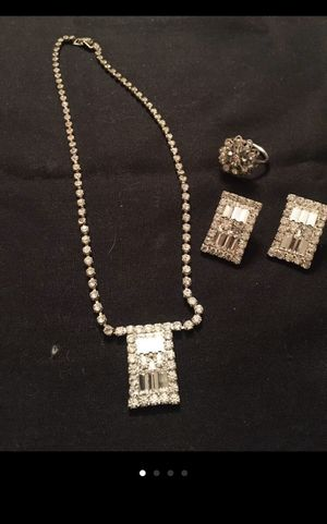 Rhinestone set necklace ring earrings for Sale in Rhinebeck, NY