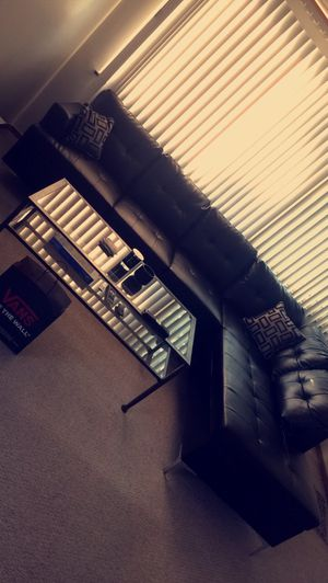 Leather Sectional + Glass Table (Will sell separately) for Sale in Chicago, IL