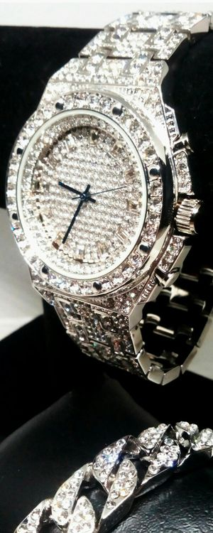Men's Brand New Charles Raymond Iced Stainless Steel Watch & Cuban Link Bracelet Set New in Gift Box for Sale in Boca Raton, FL