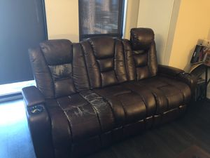 Recliner sofa with cup holders for Sale in St. Louis, MO