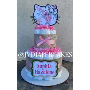 Pink Hello Kitty diaper cake great for baby shower for Sale in Whittier, CA