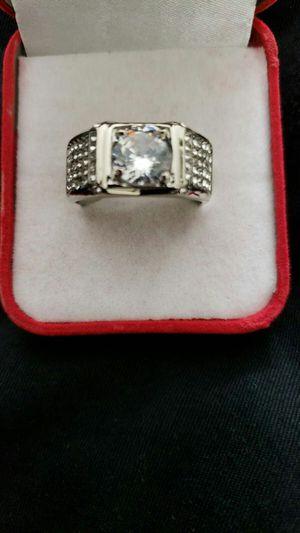 Luxurious man's white Sapphir Gemstone diamond ring Princess wedding band sizes 12 for Sale in Moreno Valley, CA