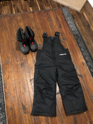 2t snow pants and size 7 baby boots for Sale in Gladstone, OR
