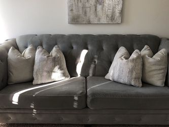 "GREY 98"" SOFA WITH PILLOWS — MUST SELL! for Sale in Morristown,  NJ"
