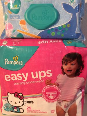 Pampers wipes 72 counts+ 25 easy ups training underwear size 2t-3t $7 for both for Sale in Lynwood, CA