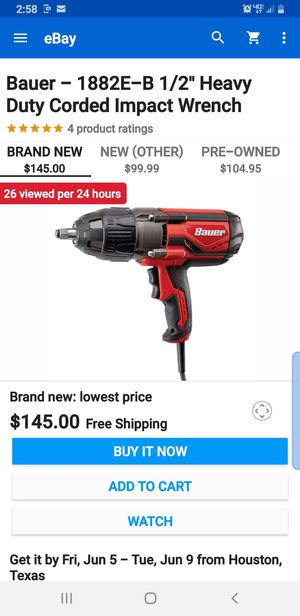 Bauer corded impact wrench for Sale in Newark, NJ