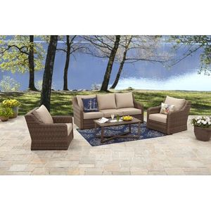 4 Piece All Weather Wicker Outdoor Patio Sofa Furniture Set with Deep Seat Cushions and Steel Frame for Sale in Colorado Springs, CO