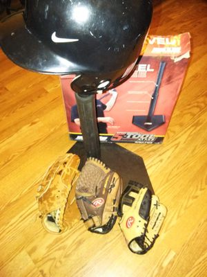 Baseball tee , 3 gloves ( 1 adult and 2 youth), Nike helmet for Sale in Stockton, CA