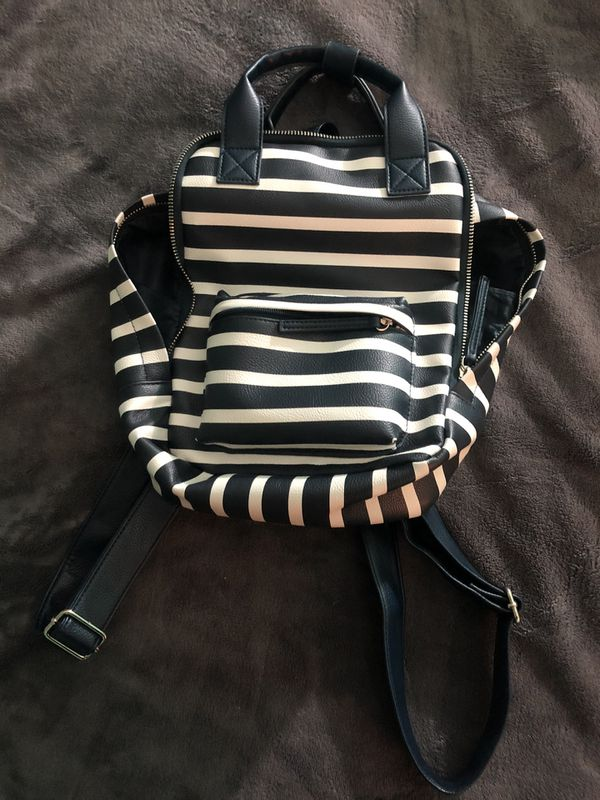 Faux Leather Blue and White Striped Mini Backpack