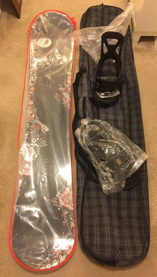 New Burton Snowboard, Binding & Bag