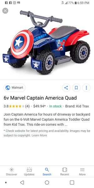 Captain America quad with extra battery for Sale in Rancho Cordova, CA