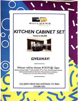 Kitchen Cabinet Giveaway! for Sale in San Antonio, TX
