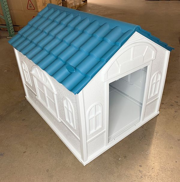 New in box $85 Plastic Dog House Medium/Large Pet Indoor Outdoor All Weather Shelter Cage Kennel 39x33x32""