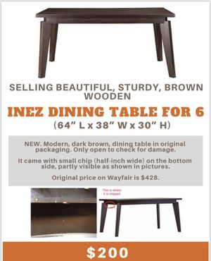 "Beautiful, sturdy brown wooden Inez dining table for 6 from Wayfair (64"" L x 38"" W x 30"" H) for Sale in Baltimore, MD"