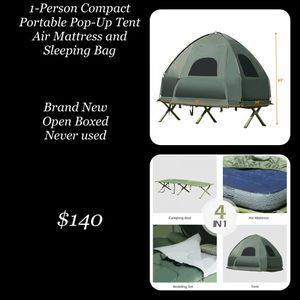 Costway 1 - Person Portable Pop Up Tent w/ Air Mattress & Sleeping Bag for Sale in Hesperia, CA