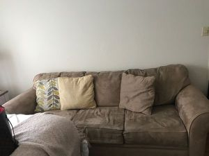 Beige couch and matching chair! Hardly used!! for Sale in San Francisco, CA