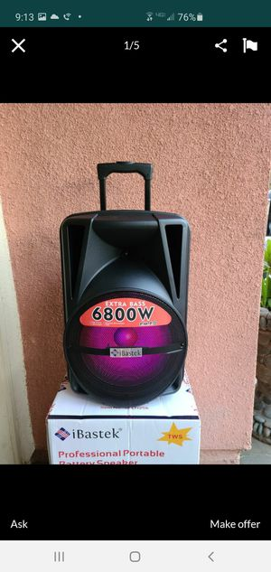 """New 12"""" subwoofer 6,800 watts Xtra bass rechargeable, Bluetooth, sd fm,tf usb remote control, microphone for Sale in Riverside, CA"""