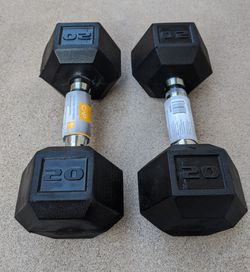 BRAND NEW 20 lb Dumbbells (Pair) Rubber Hex for Sale in Encinitas,  CA