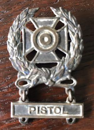 Vintage US Army expert marksman badge, includes sterling silver pistol qualification bar. Also included is hand grenade & motors qualification bars(n for Sale in Bradenton, FL