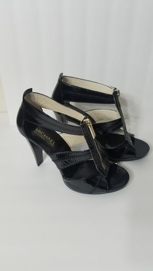 Michael Kors Womens Black Patent Leather Zip Up Sandals Heels Shoes 6 M for Sale in Knightdale, NC
