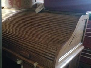 Oak roll top desk with oak chair for Sale in Stockton, CA