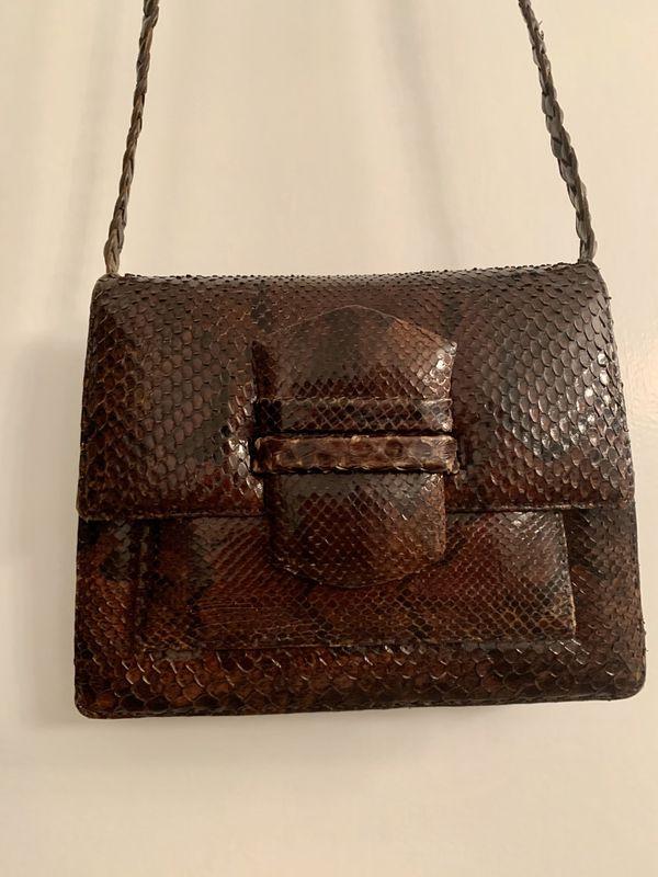 Leather Snake Skin Vintage Crossbody bag Snake Skin Crossbody bag Vintage
