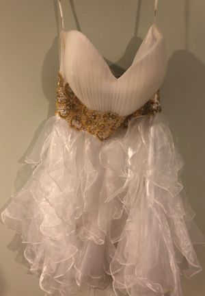 Polyester White ruffled dress with Gold designs. for Sale in Lumberton, NJ