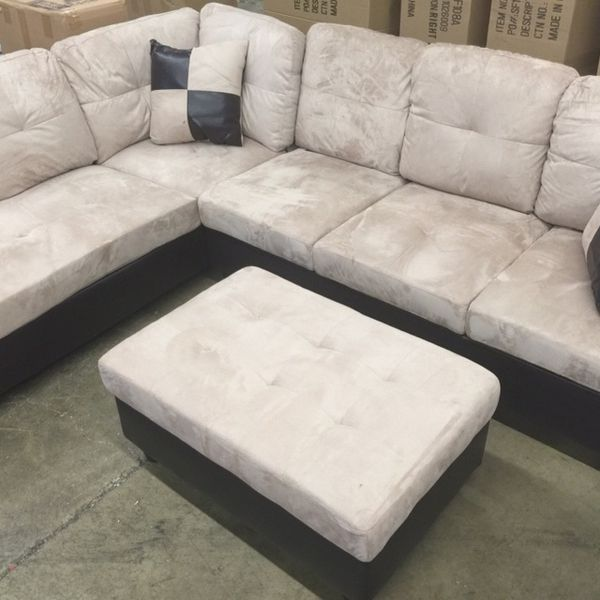 Beige Microfiber Sectional Couch And Ottoman
