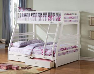 Twin/Full Bunk Bed AND Drawers - 37040 - White UPKA for Sale in Chino Hills, CA