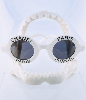 Vintage CHANEL Logo Paris White Round Sunglasses for Sale in Malibu, CA