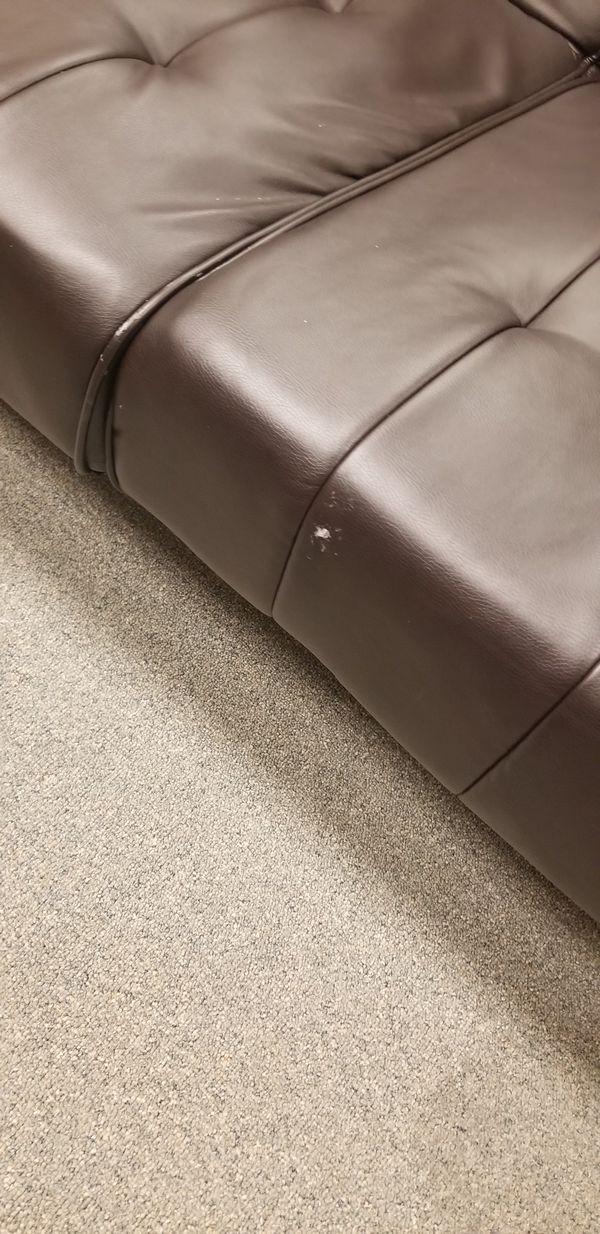 Brown Faux Leather Sofa Futon