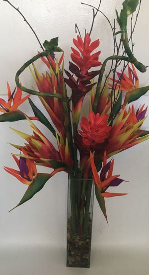Colorful Bird Of Paradise Synthetic Red Flowers Arrangement With Plaster Vase for Sale in San Diego, CA