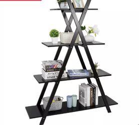 4 Tier Ladder A Frame Bookcase Bookshelf Shelf Storage Display Modern Black for Sale in Pittsburg,  CA