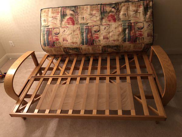 Full Size Futon Sofa Bed + 1 Mattress + 2 Pillows