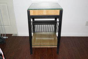 Kitchen Butcher Block Island Table Glass Top Cart Trolley for Sale in Artesia, CA