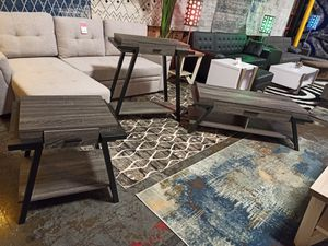 Stylish 3 PC Console, End and Coffee Table Set, Distressed Grey for Sale in Santa Fe Springs, CA