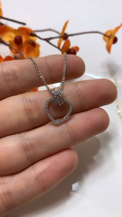 **NO FADE** Real Gold Plated Rhinestone Heart Pendant Necklace, Silver Color for Sale in Los Angeles,  CA