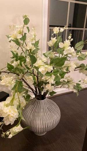 Beautiful gray vase with pottery barn flowers for Sale in Leesburg, VA