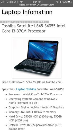 Toshiba Satellite L645-S4055 Intel Core i3-379M Processor for Sale in Los Angeles, CA