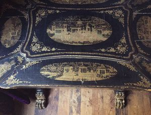 Antique 19th c gilt wood chinese sewing table carved harp legs claw feet for Sale in Micanopy, FL