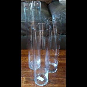 Tall glass cylinder vases set of 3 with/without decorative accessories. for Sale in Bronx, NY