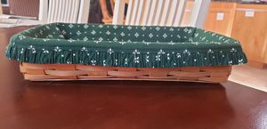 Longaberger 1999 Rectangle Basket with Heritage Green Fabric Liner for Sale in Shingle Springs, CA