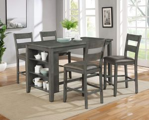 5 piece Gray Wire Brushed Counter Height Dining Table Set Storage Shelves for Sale in San Bernardino, CA